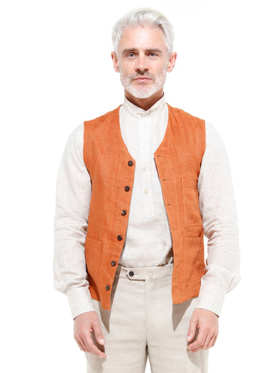 olive and ochre washed-out double-face linen patch-pocket waistcoat