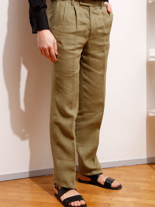 olive green plaited linen canvas luca high-waist darted trousers