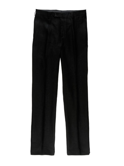 black pure-linen canvas bari slim city trousers