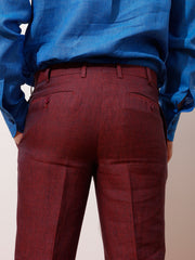 burgundy very light pure linen canvas bari slim city trousers