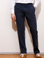 navy-blue 'cold wool' bari slim city trousers