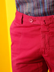 raspberry-coloured stretch cotton chino trousers