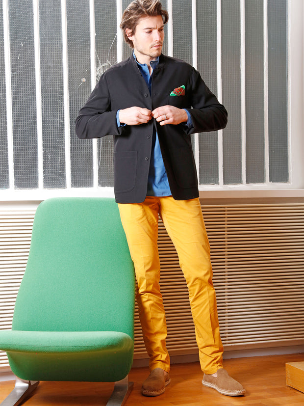 saffron-coloured stretch cotton chino trousers