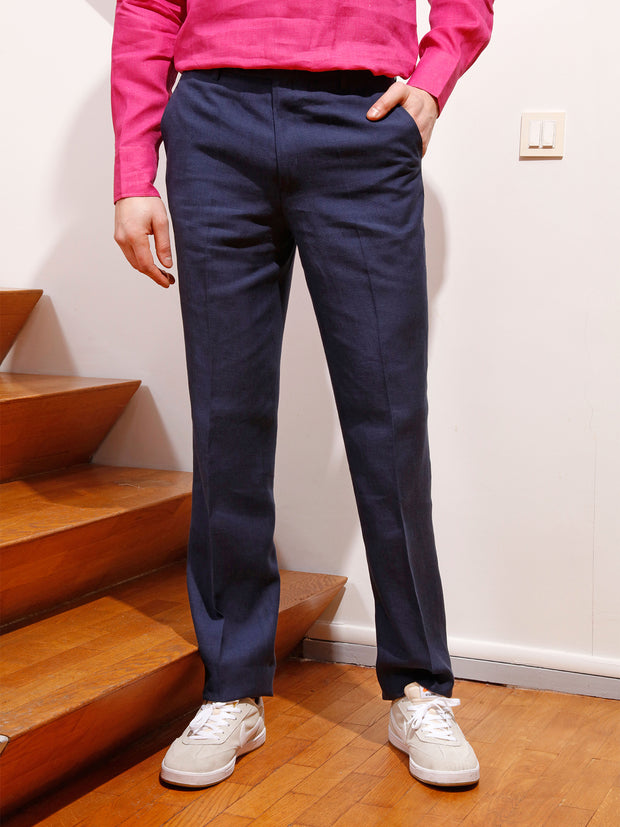 navy-blue viscose and linen canvas jules flat-front city trousers