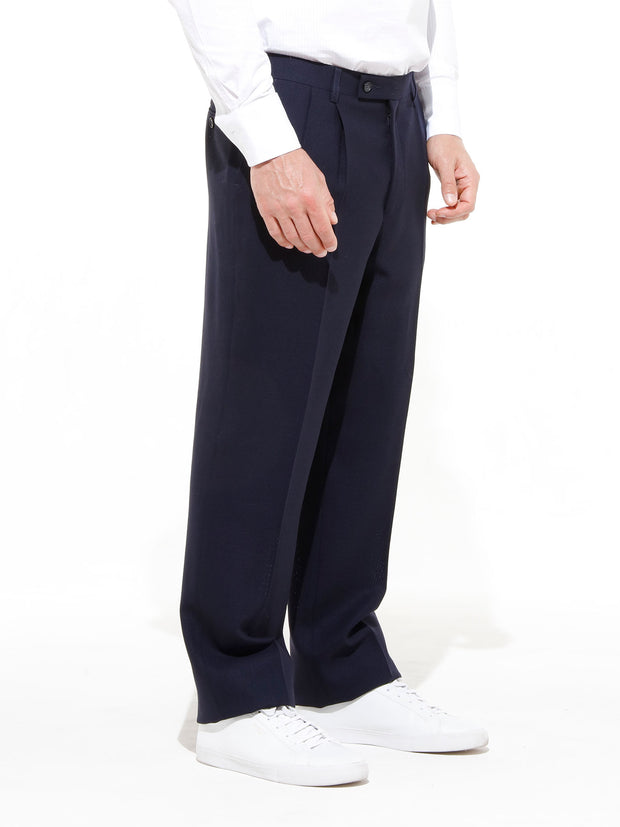 dark navy 'cold wool' luca high-waist darted trousers