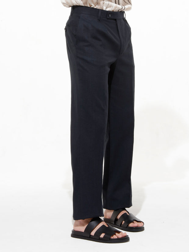 black cotton-and-linen bari trousers