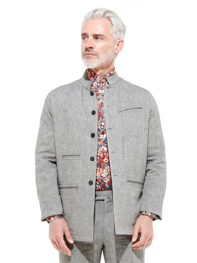 grey wool and linen canvas nehru-collar architect jacket