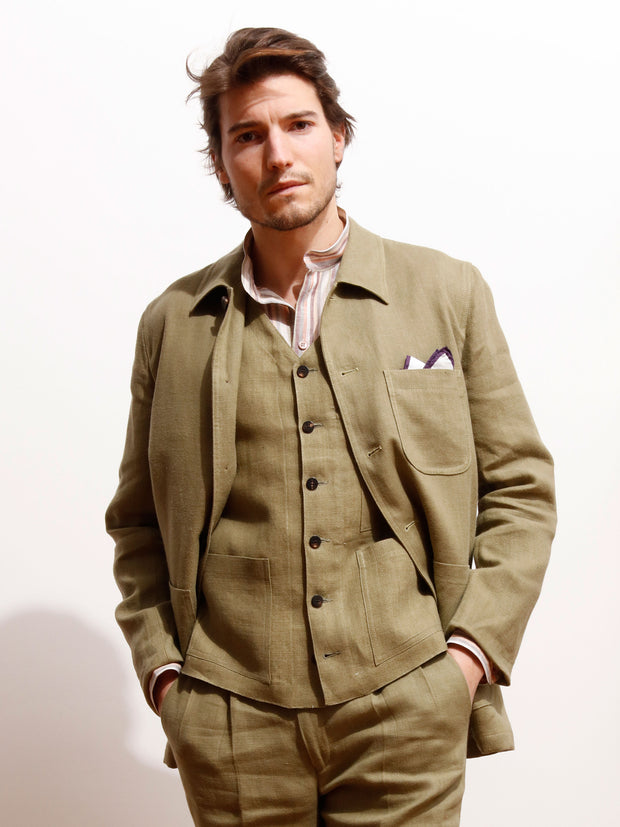 olive green plaited linen canvas sligo carpenter-collar slim jacket