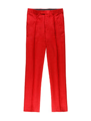 red pure-linen canvas bari slim city trousers