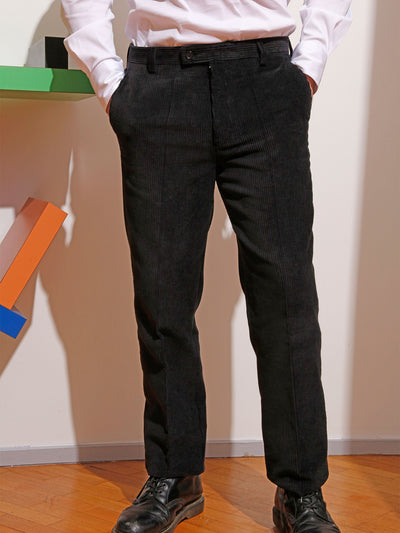 black corduroy jules flat-front city trousers