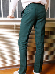 green pure-linen canvas bari slim city trousers
