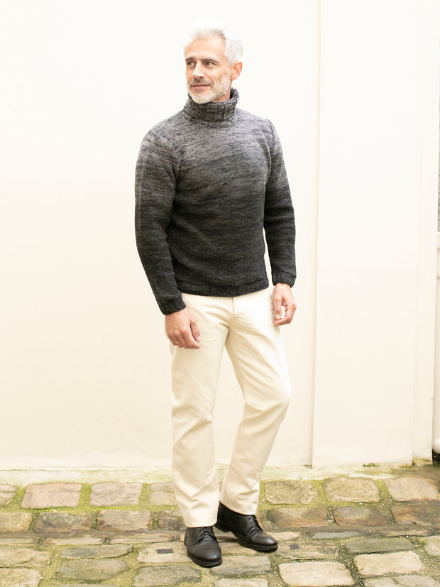 inis meáin turtleneck jumper in dry stone merino wool and cashmere