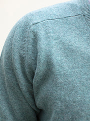 blue V-collar lambswool jumper