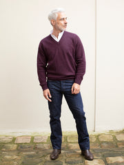 pull col V en lambswool cassis