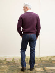 blackcurrant V-collar lambswool jumper