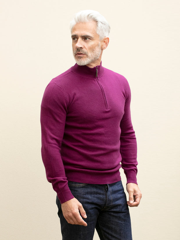 blackcurrant half-zip cashmere jumper