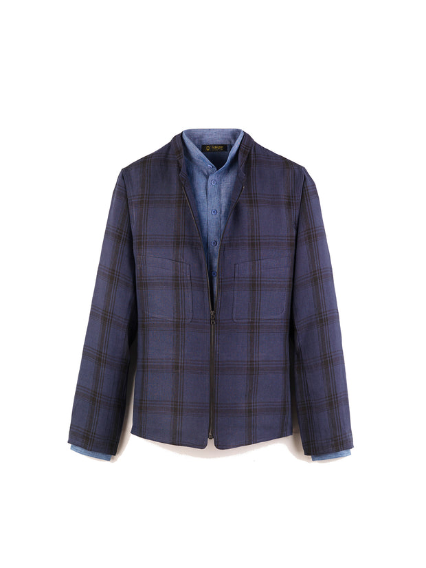 pure linen fabric with lumber jacket checks nantes zipped mao-collar jacket