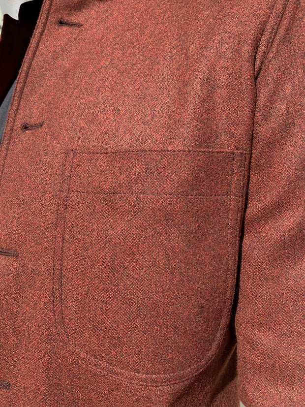 double-face brick-red flannel slim nehru-collar savoie jacket