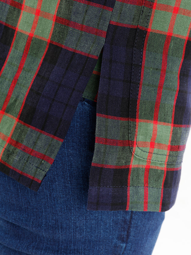 fletcher-clan tartan pure-linen canvas unlined naipaul mao-collar jacket