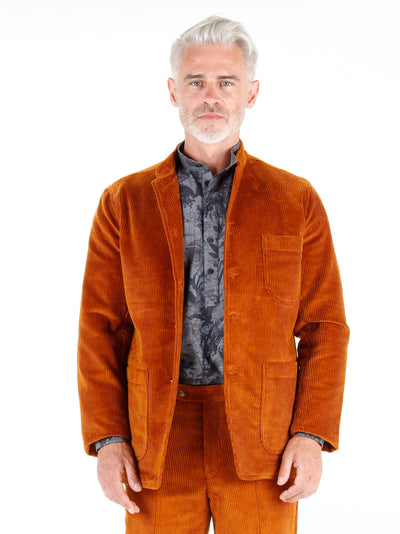 toffee cordoroy wool cloth regular nehru-collar savoie jacket