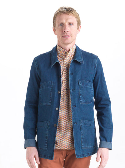 indigo stretch denim lyon carpenter-collar jacket
