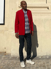 fall-wool red jersey slim nehru-collar savoie jacket