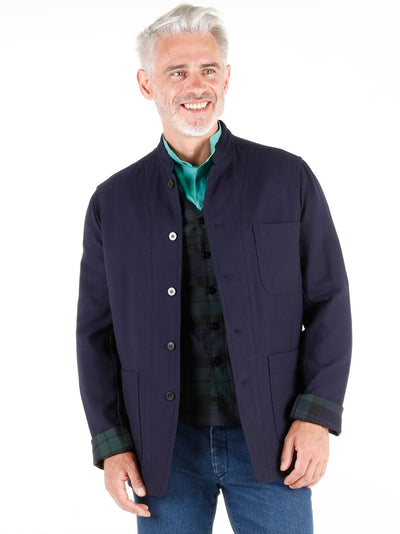 navy double-faced woollen cloth regular nehru-collar savoie jacket