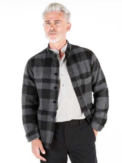 grey chequered wool cloth unlined naipaul mao-collar jacket