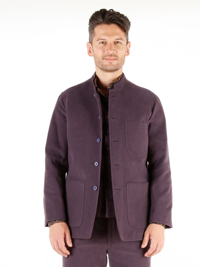 aubergine winter cotton slim nehru-collar savoie jacket