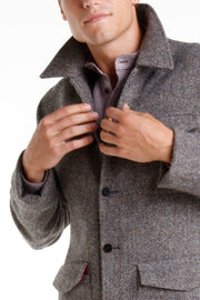grey chevron Scottish tweed odeon carpenter-collar jacket