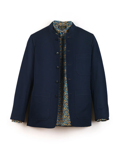 navy blue herringbone silk slim nehru-collar savoie jacket