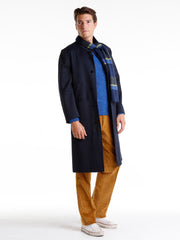 navy wool and cotton twill lund overcoat