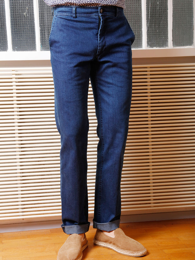 pantalon jules en denim indigo extensible