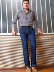 blue stretch-denim flat-front trousers