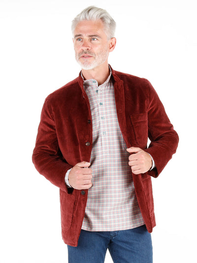 wine-red wool cordoroy cloth regular nehru-collar savoie jacket