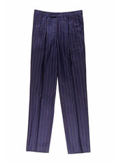 navy flannel with rust stripes high-waist darted trousers