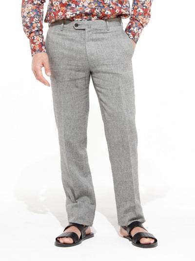 grey wool and linen canvas bari trousers