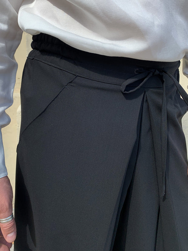 black wool-twill hakama trousers