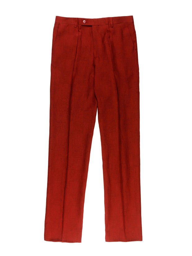 burgundy viscose and linen canvas jules flat-front city trousers