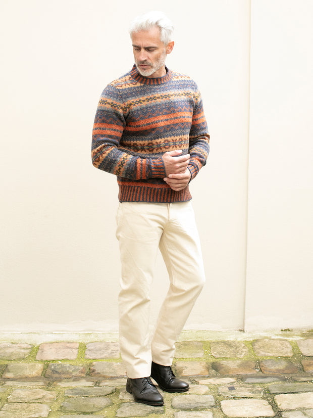 rust fair isle lambswool round-neck jumper