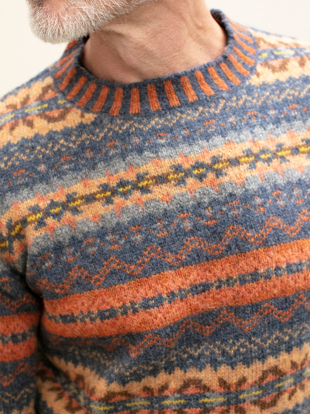 pull-over à col rond en lambswool fair isle rust