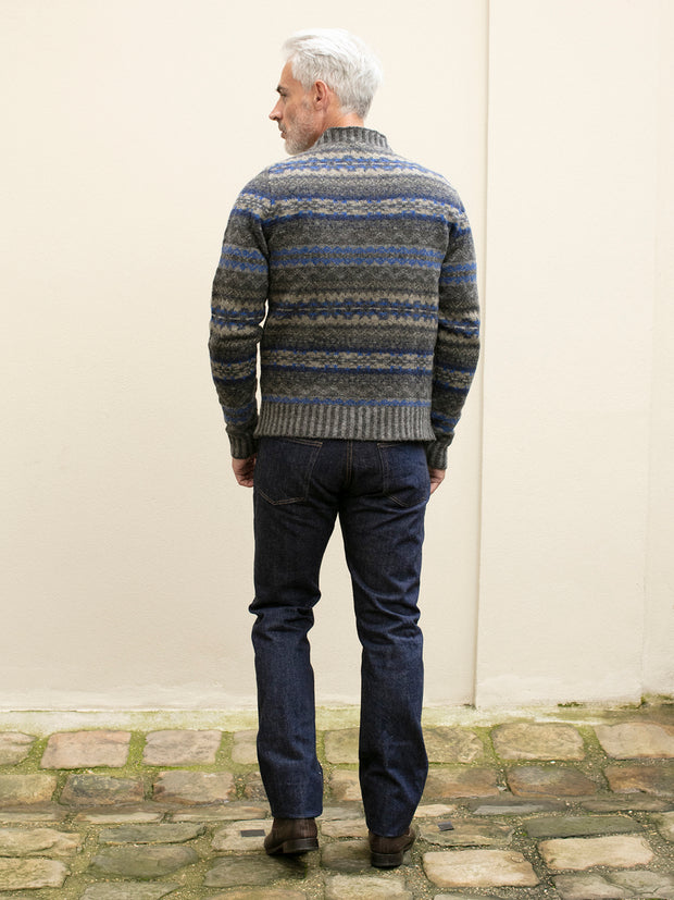charcoal fair isle lambswool round-neck jumper