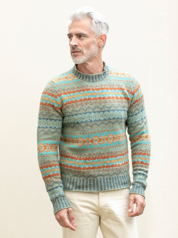 green fair isle lambswool round-neck jumper