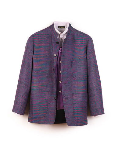 multicolored indian silk regular nehru-collar savoie jacket
