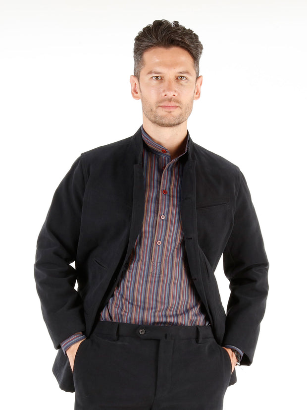 "veste architecte à col nehru ""winter cotton"" dark navy"