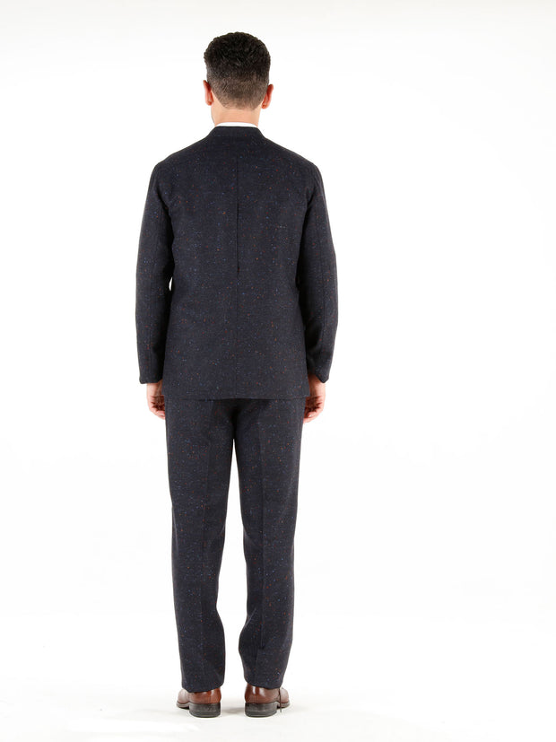 midnight-blue donegal tweed slim nehru-collar savoie jacket