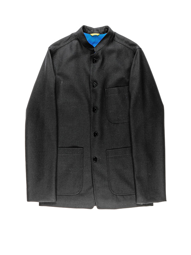 "black ""English fresco"" woolen cloth slim nehru-collar savoie jacket"