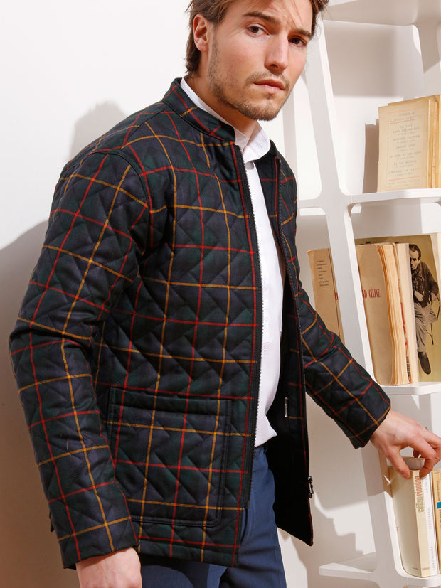 quilted and zipped naipaul jacket in macleod tartan