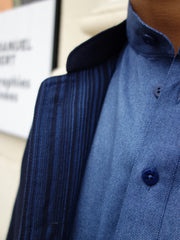 double-sided navy wool on royal stripes slim nehru-collar savoie jacket