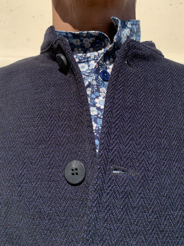 navy blue chenille regular nehru-collar savoie jacket